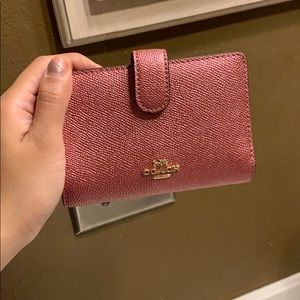 Coach Pink Metallic Wallet In Excellent condition